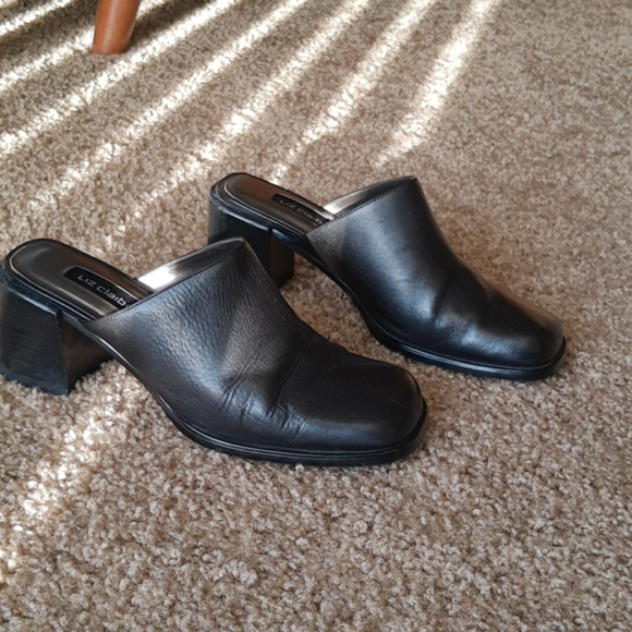 Vintage black square toe mules